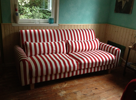 Nikkala sofa in Real Red Stockholm Stripe