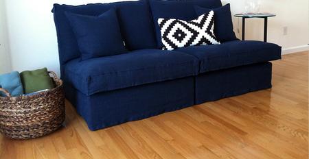 Kivik sofa in an Indigo Brera Lino cover from Bemz