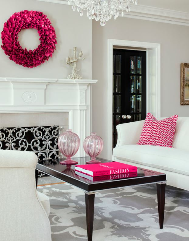 Black And White And Pink Living Room house tour: pink, orange and blue in texas - it's a cover-up